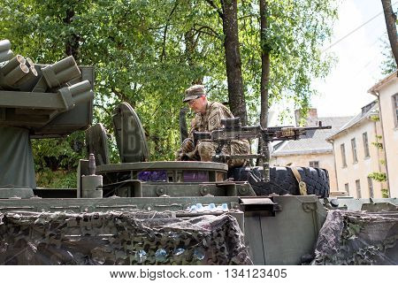 Kupiskis Lithuania - June 12 2016: Military equipment and soldiers in Dragoon Ride II