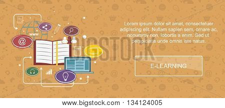 E-learning. Web banner slider or vector flat background.