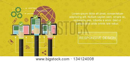 Responsive web design. Web banner slider or vector flat background.