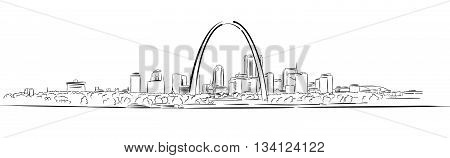 St Louis Missouri Hand-drawn Outline Sketch Vector Artwork