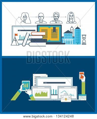 Concept of online education, online training courses, university, tutorials. School and university building icon. Investment business. Financial strategy and report. Urban landscape.