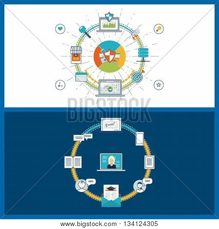 Concept of online education, online training courses, university. Investment in education. Data protection and safe work. Data safety. Internet security. Mobile marketing. Color line icons