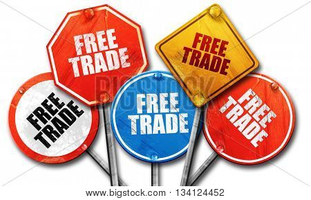 free trade, 3D rendering, rough street sign collection