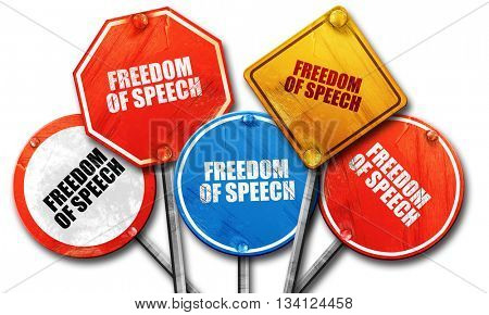 freedom of speech, 3D rendering, rough street sign collection