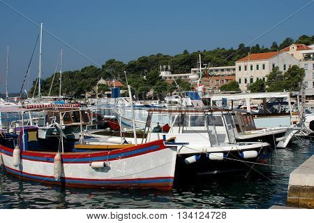 An island Hvar and its marine with tourist boats, Croatia