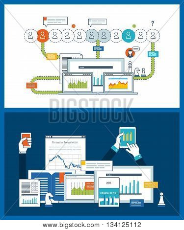 Concept for financial report, investment, consulting, strategy planning, project and strategic management. Investment growth. Management consulting. Financial strategy and report. Online education.