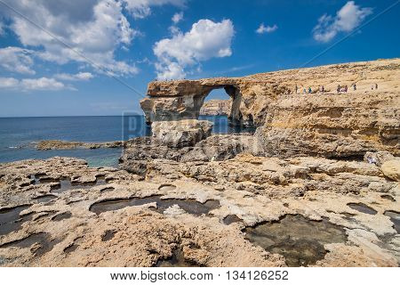 San Lawarenz, Gozo - May 06, 2016:  Azure Window On The Island Gozo