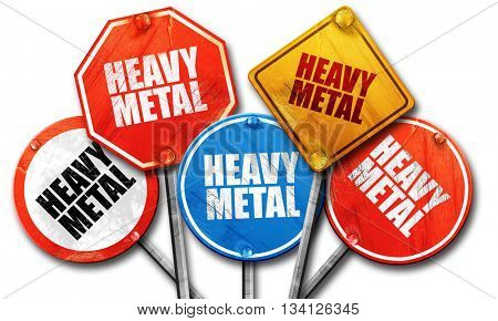heavy metal music, 3D rendering, rough street sign collection