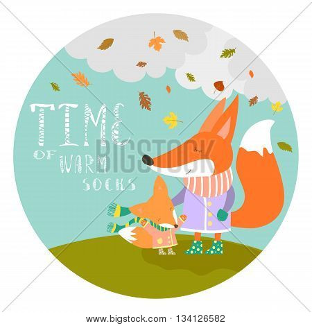 Cute fox with her little cub. Vector illustration