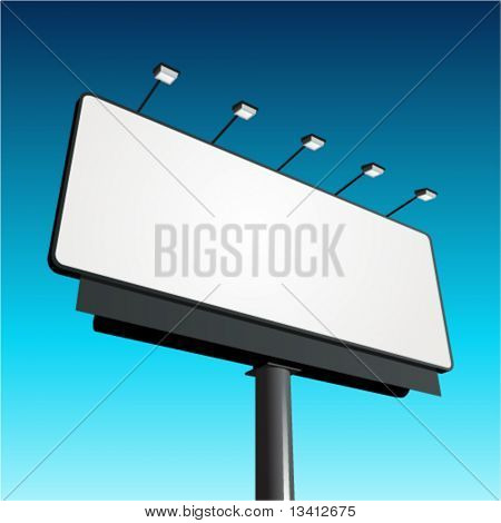 Billboard with blue sky vector background