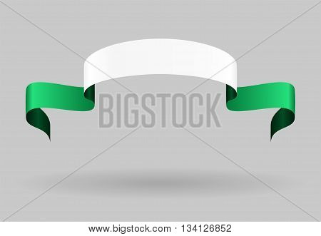 Nigerian flag wavy abstract background. Vector illustration.