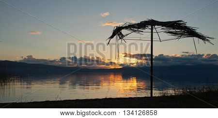 Sunset above Ohrid lake, Lagadin in Macedonia