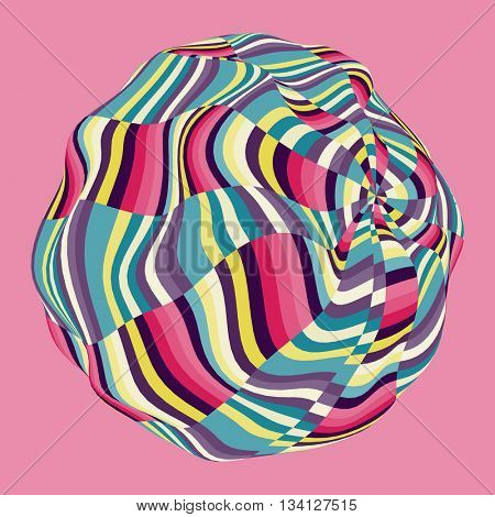Design Template with Colorful Mosaic Sphere. Abstract Vector illustration.