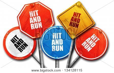 hit and run, 3D rendering, rough street sign collection