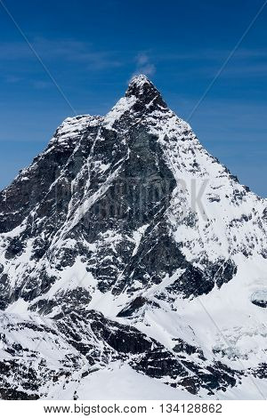 View Alps mountains landscape and Peak of Matterhorn is a Landmark in Zermatt Switzerland