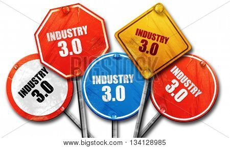 industry 3.0, 3D rendering, rough street sign collection