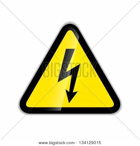 Bright high voltage sign modern icon with shadow isolated on white