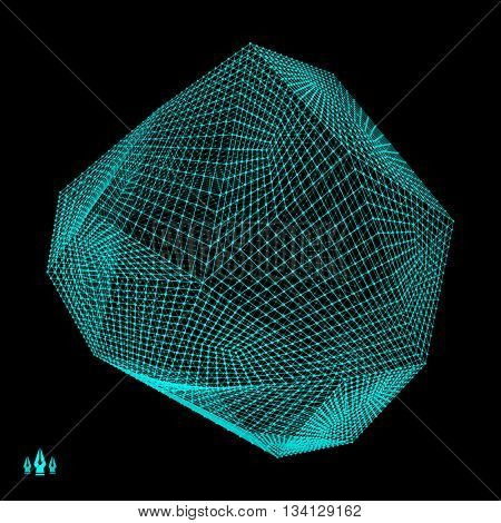 Wireframe Object with Lines and Dots. Abstract 3D Connection Structure. Technology Style.