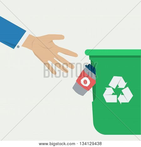 Hand throws a empty coffee cup in the green trash can. Vector illustration in flat style. Concept of clean city or garbage recycling