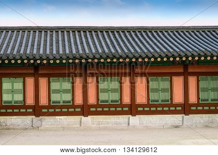 Part of the building in Gyeongbokgung Palace, Seoul, Korea