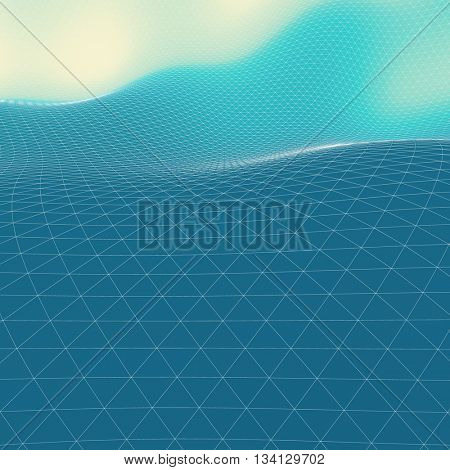 Abstract Landscape Background. Mosaic. 3D Wireframe Terrain. Vector Illustration.