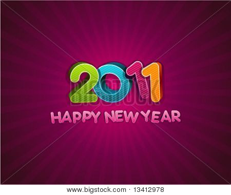 3d happy new year 2011 message vector background