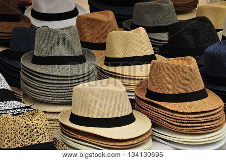 Aix en Provence France - april 21 2016 : hats at the cours Mirabeau market