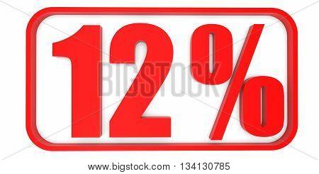 Discount 12 Percent Off. 3D Illustration.