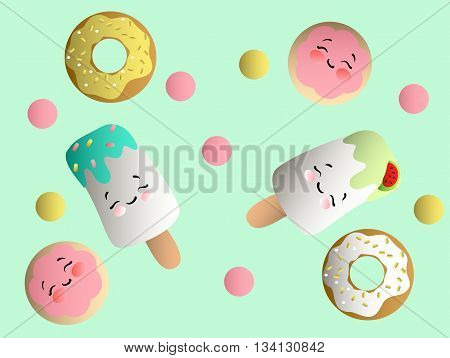 Drawing of a set with ice lolly, cookies in a pink glaze, donuts with cream and sprinkles with smile faces and colorful round candy on a light turquoise monochromatic background