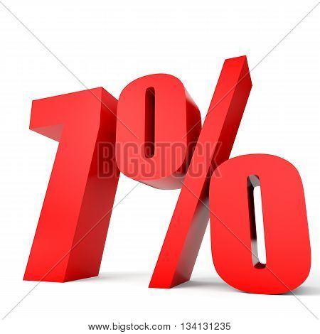 Discount 7 Percent Off. 3D Illustration.