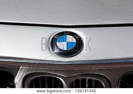 Tel Aviv, Israel, June 12, 2016: BMW car front grill with emblem. BMW is a German luxury vehicles, motorcycle, and engine manufacturing company founded in 1916. Headquartered in Munich, Germany,.