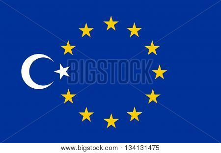 Collage: flag of Turkey and flag of Europe European Union (EU)