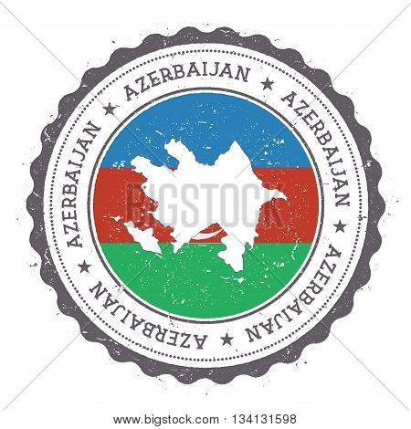 Azerbaijan Map And Flag In Vintage Rubber Stamp Of State Colours. Grungy Travel Stamp With Map And F