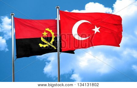 Angola flag with Turkey flag, 3D rendering