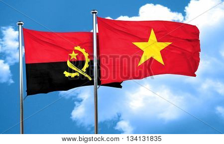 Angola flag with Vietnam flag, 3D rendering