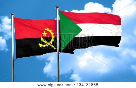 Angola flag with Sudan flag, 3D rendering
