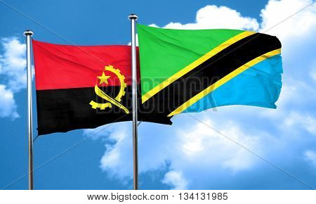 Angola flag with Tanzania flag, 3D rendering