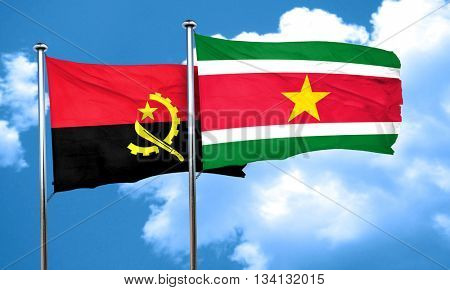 Angola flag with Suriname flag, 3D rendering