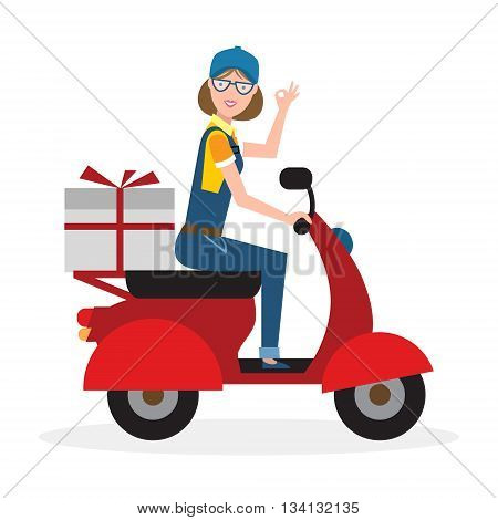 Delivery woman on scooter. Fast transportation. Isolated cartoon character on white background. Postwoman, courier with parcel on motorbike.