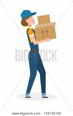 Delivery woman with parcel. Fast transportation. Isolated cartoon character on white background. Postwoman, courier with package. Concept of online shopping and moving.