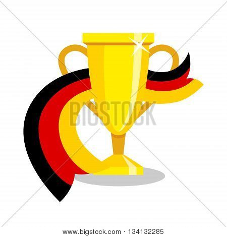 Golden cup with german flag on white background. Concept of championship, league, team sport. Concept of prize, leadership, winning and success. Winner award.