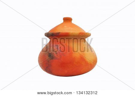 The pottery pot for the water on white background.