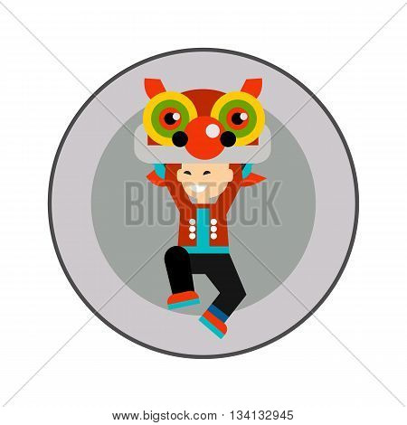 Dragon dancer icon. Colored vector icon of little boy with dragon head dancing at traditional Chinese New Year festival