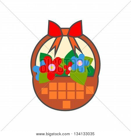 Flower basket vector icon. Colored line illustration of basket with flowers decorated with red bow