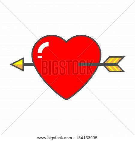 Heart with arrow vector icon. Colored line icon of heart pierced with love arrow
