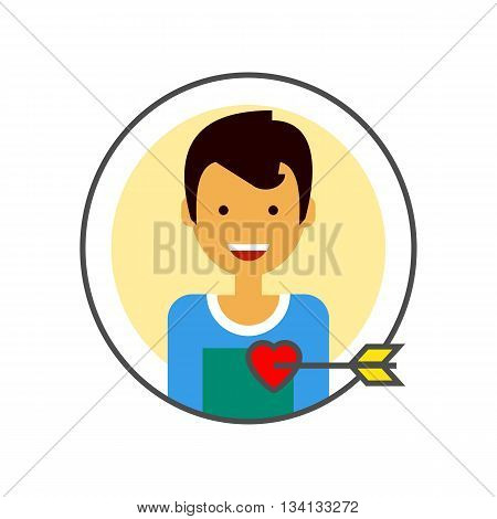 Loving male portrait vector icon. Colored line icon of happy male character portrait with heart pierced with love arrow