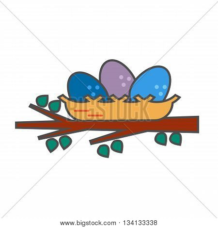 Nest vector icon. Colored line illustration of nest with three eggs on tree branch