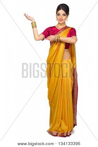 Indian woman isolated on white