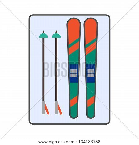 Skis vector icon. Colored line icon of skis with ski poles