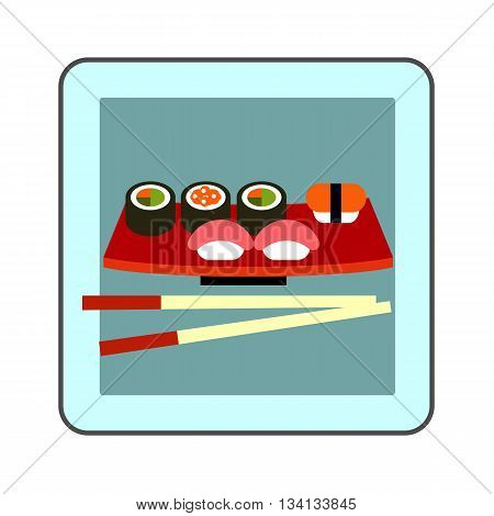 Sushi set icon. Colored illustration of sushi set served on special plate with chopsticks
